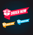 order now label set modern web banner collection vector image