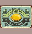 premium quality organic lemons vintage sign vector image vector image