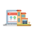Real estate laptop building flat style vector image