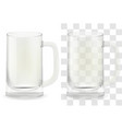 realistic transparent beer glass alcohol vector image vector image