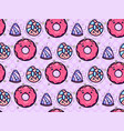 seamless texture with cute kawai donut and candy vector image vector image
