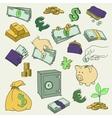 set doodle money symbol vector image
