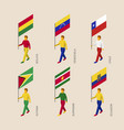 set of 3d people with flags of south america vector image vector image