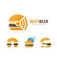 set of burger logo combination hamburger and vector image vector image