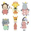 Set of princess animals vector image