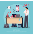 Sleeping At Work Flat Poster vector image vector image