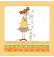 small young lady who smells a flower vector image vector image