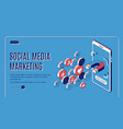 social media marketing influencer concept banner vector image