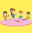 teacher and children cutting paper with scissors vector image