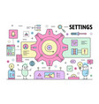 thin line settings poster banner template vector image