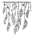 Tribal theme background with feathers vector image vector image