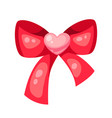valentines day red shiny bow with heart vector image