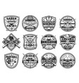 weapon badges with swords rifles shotguns axes vector image