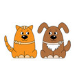 colorful cat and dog logo vector image