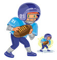 little boy playing american football vector image