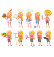 baby girl stands and holds a various objects vector image