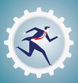 Businessman run in the gear vector image