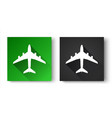 black and green flat icons with airplane isolated vector image
