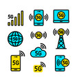 5g color icons set in simple style vector image