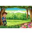 A businessman in the middle of the forest vector image vector image