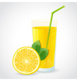 A glass of fresh lemon juice and half of lemon vector image vector image