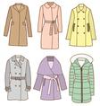A set of women coats vector image