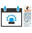 Alert Calendar Day Flat Icon With Bonus vector image vector image