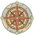 banner with compass wind rose and old map vector image