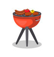 barbecue grill with food isolated icon vector image vector image