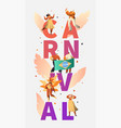 brazil carnival party character dancer poster vector image vector image