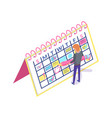 calendar planner and man creating appointment vector image vector image