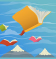 colorful books flying in sky for reading concept vector image