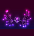 contour neon of moose antlers with sparks vector image vector image