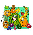 cute fruit characters group cartoon vector image