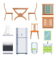 different furniture for living room and kitchen vector image vector image
