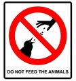 Do not feed the animals wildlife birds sign vector image vector image