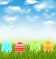 Easter natural landscape with traditional colorful vector image vector image