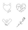 evil heart broken heart friendship rose vector image vector image