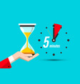 five minutes clock icon with hourglass in hand vector image vector image