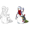 Funny Snowman walking the New Year character vector image vector image