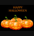 happy halloween card with jack o lanterns vector image vector image