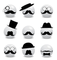 Hipster white smilies with mustache vector image vector image