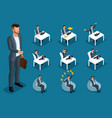 isometric 3d set for creating characters vector image