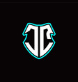 j c initial logo design with a shield shape vector image vector image