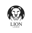 lion logo design emblem with head of wild animal vector image