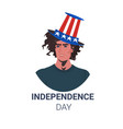 man in usa festive hat celebrating 4th july vector image