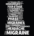 migraine stages text background word cloud concept vector image vector image