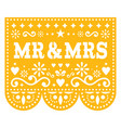 mr and mrs papel picado wedding greeting card vector image