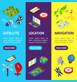 navigation methods tools signs 3d banner vecrtical vector image vector image