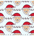 new year pattern with funny santa christmas vector image vector image